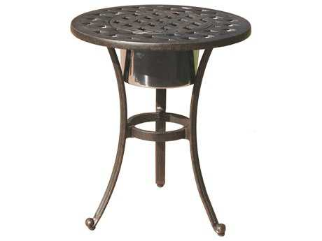 Darlee Outdoor Living Quick Ship Series 30 Cast Aluminum Antique Bronze 21 Round End Table with Ice Bucket