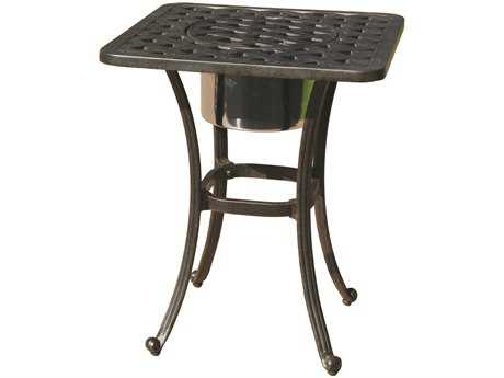 Darlee Outdoor Living Series 30 Cas -Aluminum Antique Bronze 21 Square End Table with Ice Bucket PatioLiving