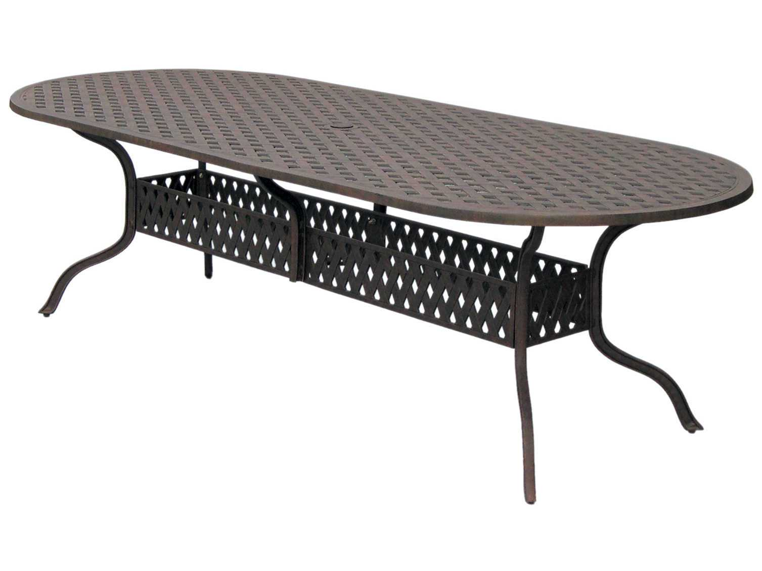 darlee outdoor living series 30 cast aluminum antique bronze 102 x 42 oval dining table dl30 xl. Black Bedroom Furniture Sets. Home Design Ideas