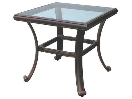 Darlee Outdoor Living Glass Top Cast Aluminum Antique Bronze 24 Square End Table PatioLiving