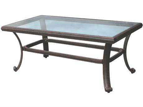 Darlee Outdoor Living Glass Top Cast Aluminum Antique Bronze 42 x 24 Rectangular Coffee Table PatioLiving