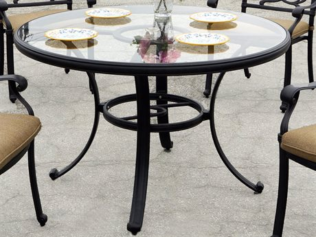Darlee Outdoor Living Glass Top Cast Aluminum Antique Bronze 48 Round Dining Table PatioLiving