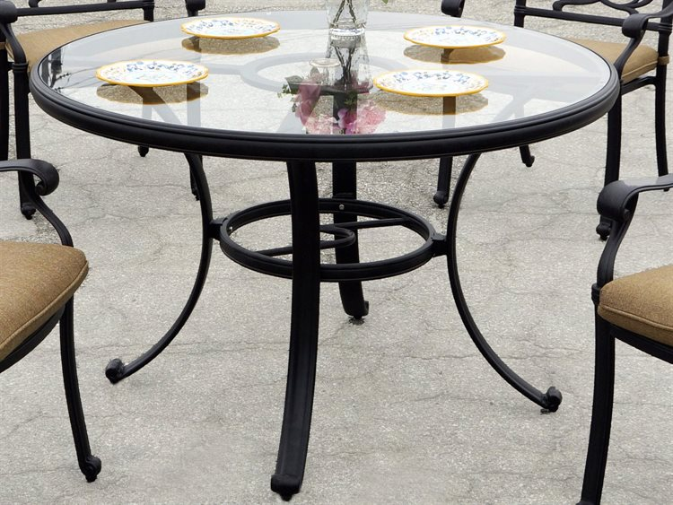 Darlee Outdoor Living Glass Top Cast Aluminum Antique Bronze 48 Round Dining Table Dadl50c