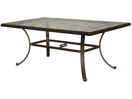 Darlee Outdoor Living Glass Top Cast Aluminum Antique Bronze 72 x 42 Rectangular Dining Table PatioLiving