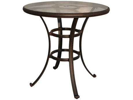 Darlee Outdoor Living Quick Ship Glass Top Cast Aluminum Antique Bronze 42 Round Bar Table