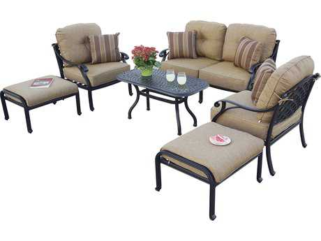Darlee Outdoor Living Standard Nassau cast Aluminum 6-Piece Conversation Set with 42 x 21 Rectangular & Pillows