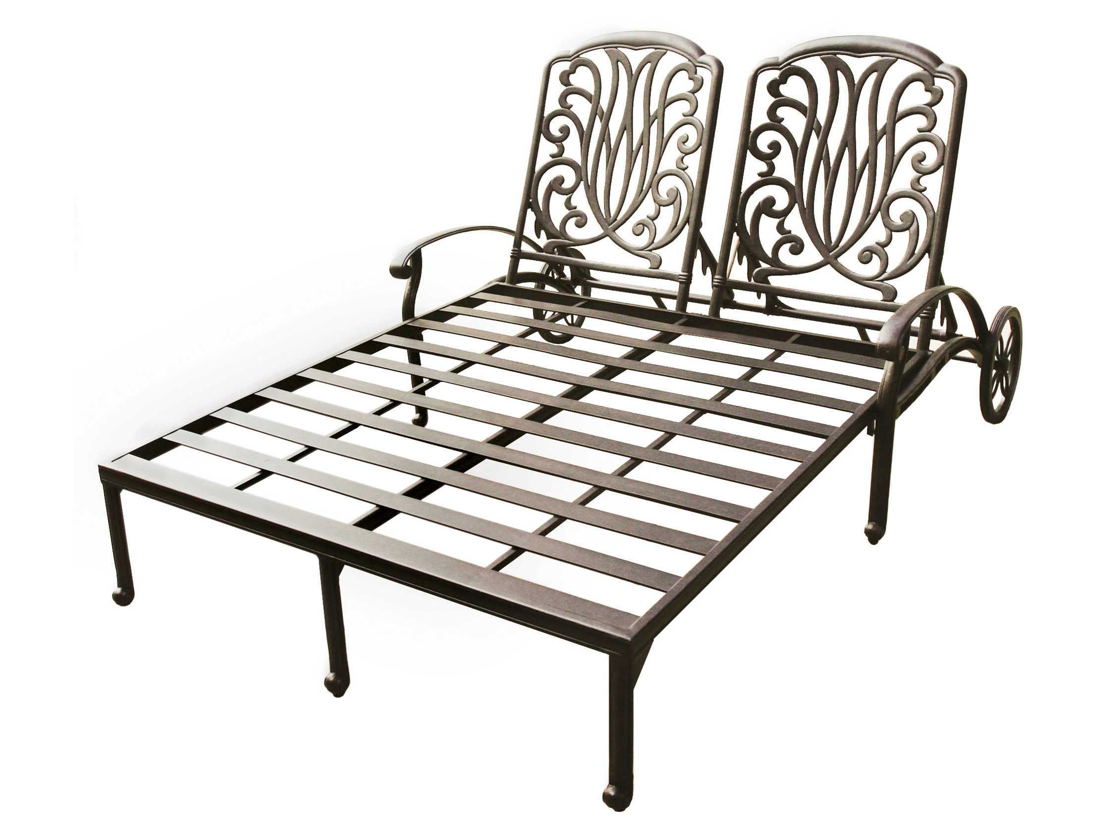 darlee outdoor living elisabeth cast aluminum antique bronze double chaise lounge. Black Bedroom Furniture Sets. Home Design Ideas