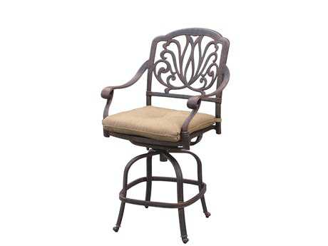Darlee Outdoor Living Quick Ship Elisabeth Cast Aluminum Antique Bronze Swivel Counter Height Stool