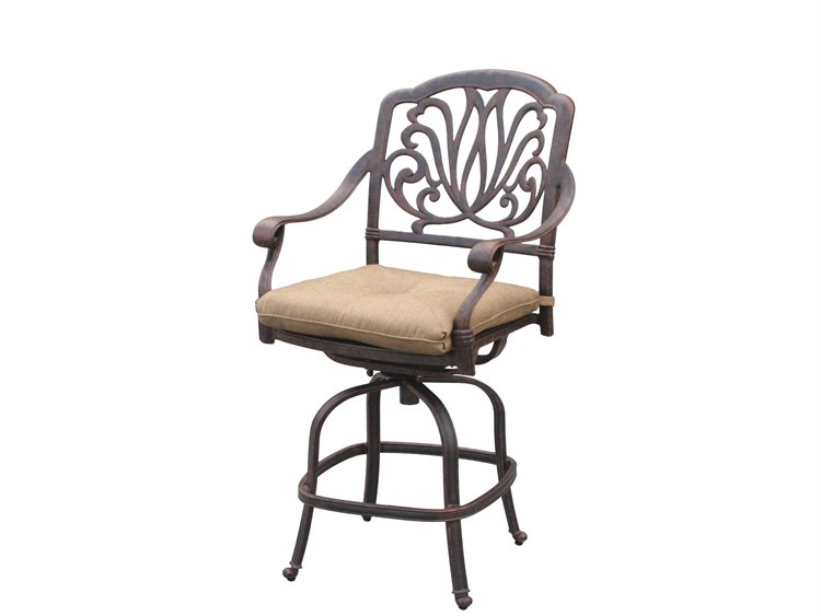 Darlee Outdoor Living Elisabeth Cast Aluminum Antique Bronze Swivel Counter Height Stool