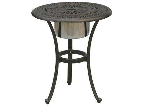 Darlee Outdoor Living Quick Ship Elisabeth Cast Aluminum Antique Bronze 21 Round End Table with Ice Bucket