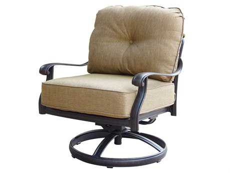 Darlee Outdoor Living Elisabeth Cast Aluminum Antique Bronze Swivel Rocker Club Chair