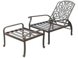 Quick Ship Elisabeth Cast Aluminum Antique Bronze Adjustable Club Chair and Ottoman