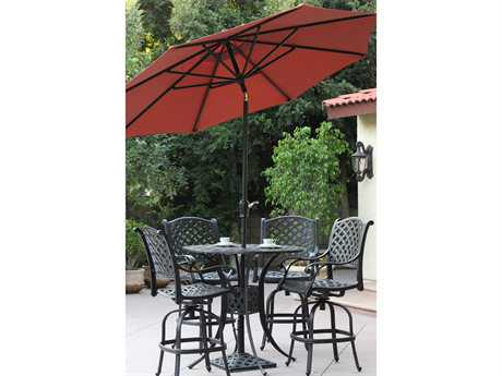 Darlee Outdoor Living Standard Umbrellas Cast-Aluminum Antique Bronze 9' Auto Tilt Umbrella - BAR HEIGHT PatioLiving