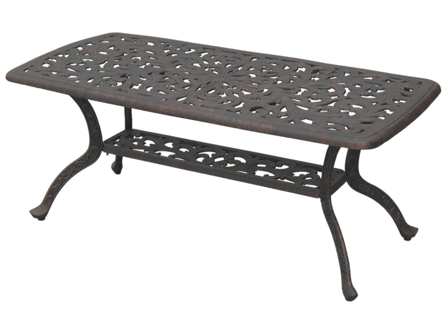 Darlee Outdoor Living Series 80 Cast Aluminum Antique Bronze 42 X 21 Rectangular Coffee Table