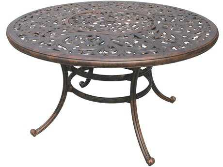 Darlee Outdoor Living Series 80 Cast Aluminum Antique Bronze 52 Round Dining Table with Ice Bucket PatioLiving