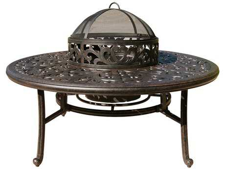 Darlee Outdoor Series 80 52 Round Cast Aluminum Antique Bronze 52 Round Tea Fire Pit with Ice BucketTable