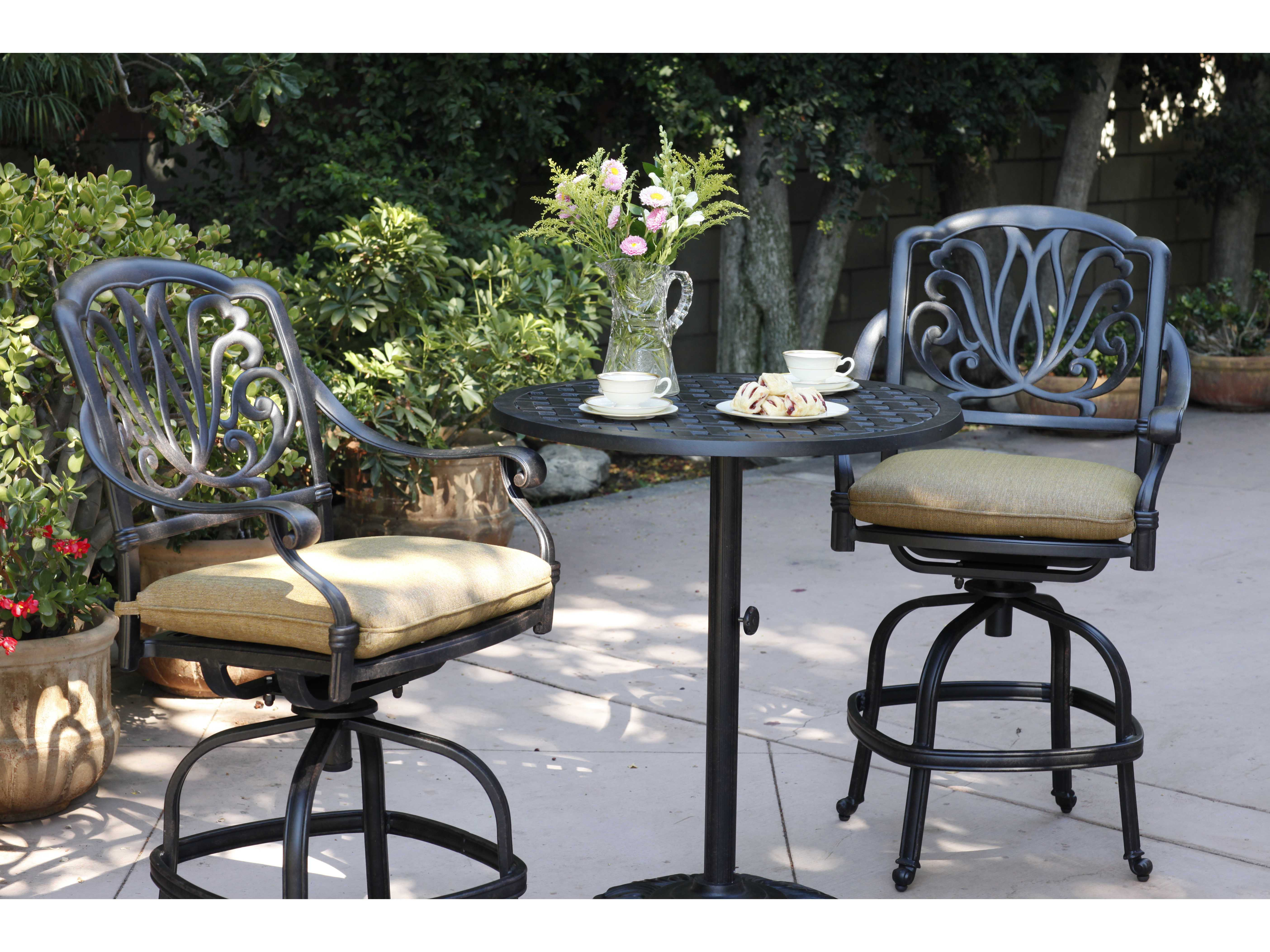 Balcony Height Swivel Patio Set: Darlee Outdoor Living Elisabeth Cast Aluminum Antique