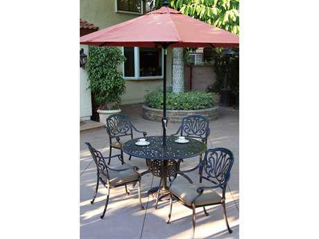 Darlee Outdoor Living Standard Elisabeth Casual Cushion Cast Aluminum Dining Set PatioLiving