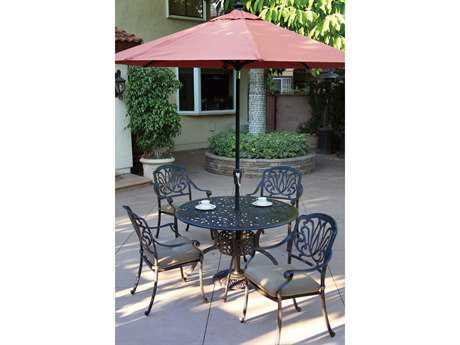 Darlee Outdoor Living Elisabeth Casual Cushion Cast Aluminum Dining Set