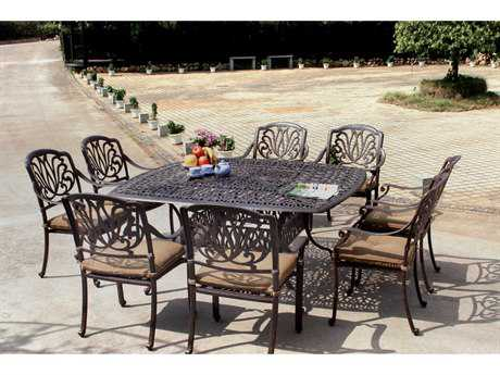 Darlee Outdoor Living Standard Elisabeth Casual Cushion Cast Aluminum Dining Set