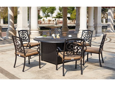 Darlee Outdoor Living Santa Barbara Cast Aluminum Antique Bronze 7 Piece Fire Pit Dining Set PatioLiving
