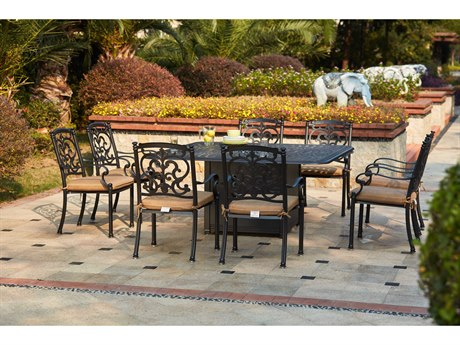 Darlee Outdoor Living Santa Barbara Cast Aluminum Antique Bronze 9 Piece Fire Pit Dining Set PatioLiving