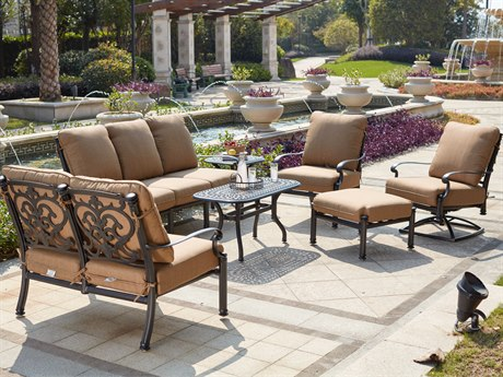 Darlee Outdoor Living Santa Barbara Cast Aluminum Antique Bronze 7 Piece Lounge Set