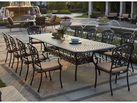 Darlee Outdoor Florence Cast Aluminum Antique Bronze 11 Piece Dining Set