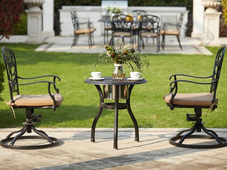 Darlee Outdoor Florence Cast Aluminum Antique Bronze 3 Piece Lounge Set with Ice Bucket Insert PatioLiving