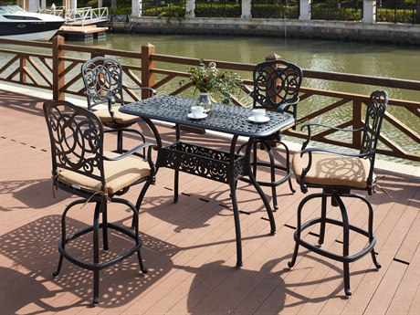 Darlee Outdoor Florence Cast Aluminum Antique Bronze 5 Piece Counter Set PatioLiving