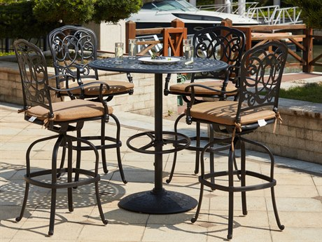 Darlee Outdoor Florence Cast Aluminum Antique Bronze 5 Piece Bar Set PatioLiving
