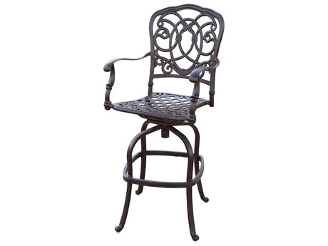 Darlee Outdoor Florence Cast Aluminum Antique Bronze Swivel Bar Stool (Price Includes 4) PatioLiving