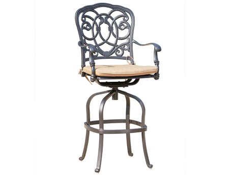 Darlee Outdoor Florence Cast Aluminum Antique Bronze Swivel Bar Stool (Price Includes 6) PatioLiving