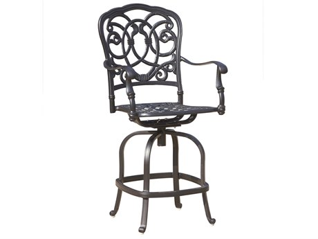Darlee Outdoor Florence Cast Aluminum Antique Bronze Swivel Counter Height Stool (Price Includes 4) PatioLiving