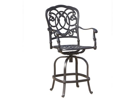 Darlee Outdoor Florence Cast Aluminum Antique Bronze Swivel Counter Height Stool (Price Includes 6) PatioLiving