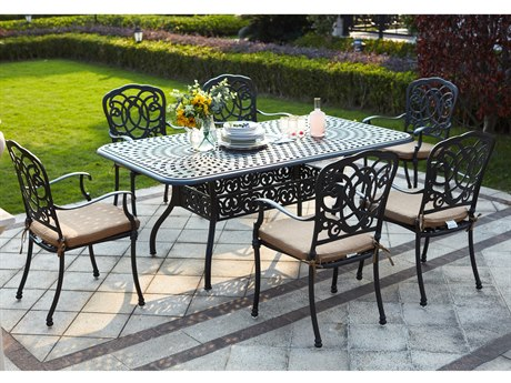 Darlee Outdoor Florence Cast Aluminum Antique Bronze 7 Piece Dining Set PatioLiving