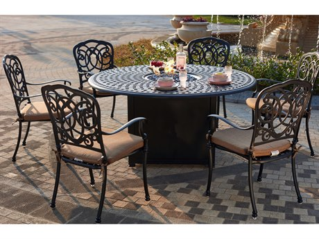 Darlee Outdoor Florence Cast Aluminum Antique Bronze 7 Piece Fire Pit Dining Set