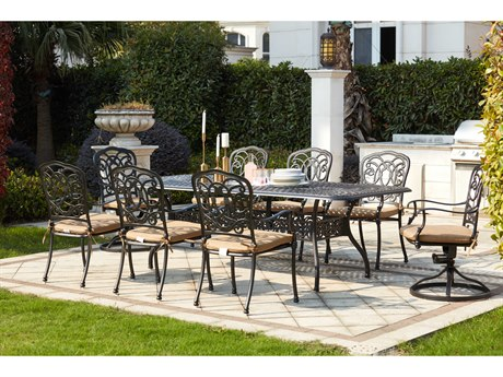 Darlee Outdoor Florence Cast Aluminum Antique Bronze 9 Piece Dining Set