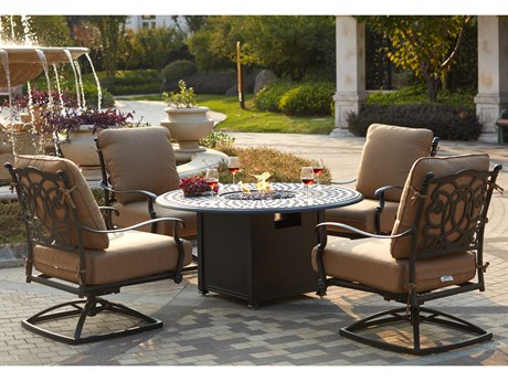 Darlee Outdoor Florence Cast Aluminum Antique Bronze 5 Piece Fire Pit Lounge Set PatioLiving