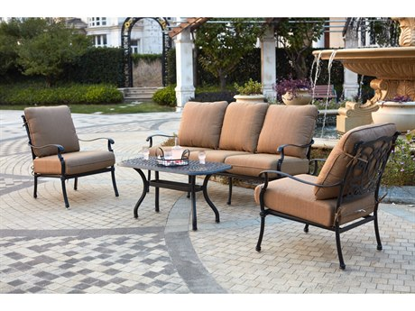 Darlee Outdoor Florence Cast Aluminum Antique Bronze 4 Piece Lounge Set PatioLiving
