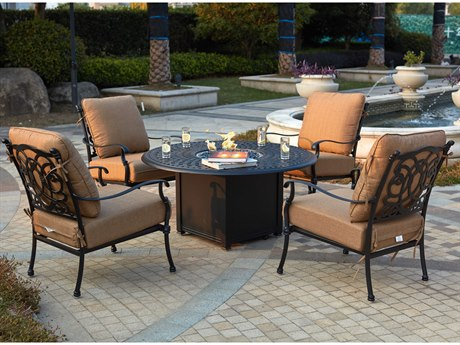 Darlee Outdoor Florence Cast Aluminum Antique Bronze 5 Piece Fire Pit Lounge Set