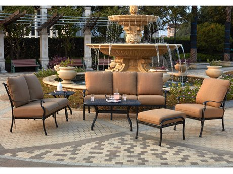 Darlee Outdoor Florence Cast Aluminum Antique Bronze 6 Piece Lounge Set