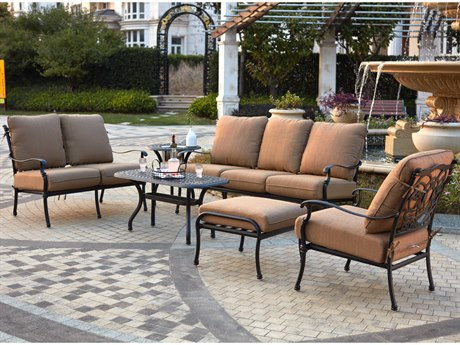 Darlee Outdoor Florence Cast Aluminum Antique Bronze 6 Piece Lounge Set with Ice Bucket Insert