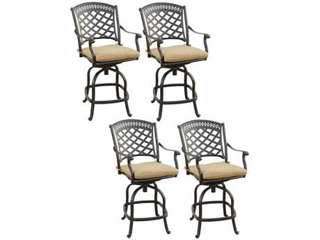 Darlee Outdoor Living Sedona Cast Aluminum Antique Bronze Swivel Bar Height Stool (Price Includes 4) PatioLiving