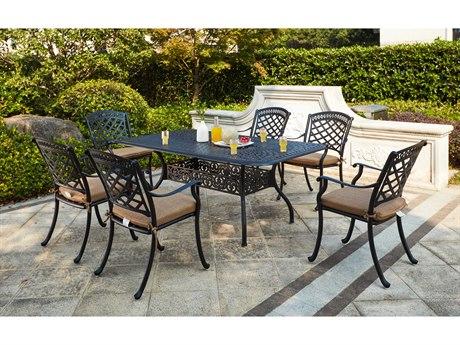 Darlee Outdoor Living Sedona Cast Aluminum Antique Bronze 7 Piece Dining Set PatioLiving