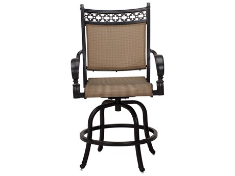 Darlee Outdoor Living Mountain View Sling Cast Aluminum Antique Bronze Swivel Counter Height Stool (Price Includes 6)