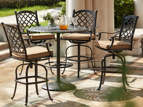 Darlee Outdoor Living Madison Cast Aluminum Antique Bronze 5 Piece Bar Set PatioLiving