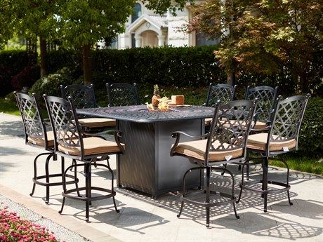Darlee Outdoor Living Madison Cast Aluminum Antique Bronze 9 Piece Fire Pit Counter Set PatioLiving