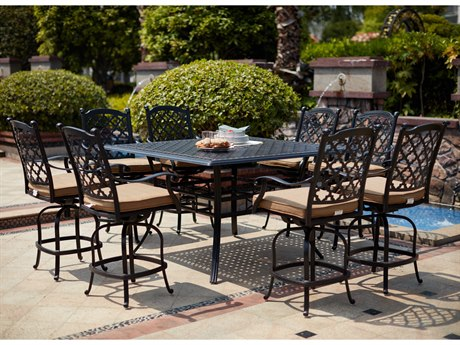 Darlee Outdoor Living Madison Cast Aluminum Antique Bronze 9 Piece Counter Set PatioLiving