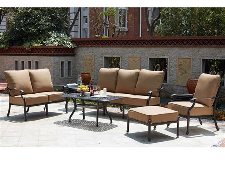 Darlee Outdoor Living Madison Cast Aluminum Antique Bronze 4 Piece Deep Seating Lounge Set PatioLiving